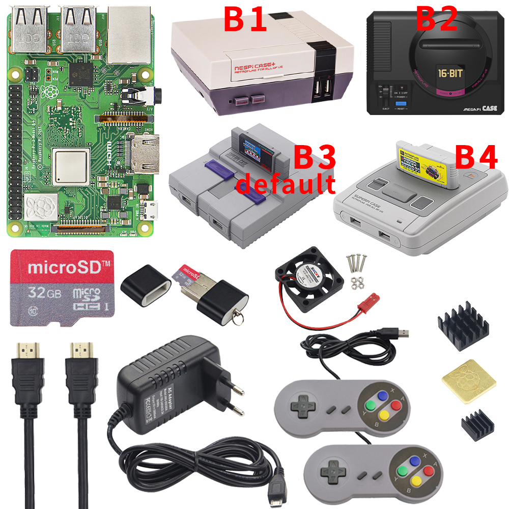 Raspberry Pi 3 Model B Plus Gaming Kit+Power Supply+ SD Card+HDMI Cable+Heat Sink+Retroflag NESPi Case For Retropie 3B Plus