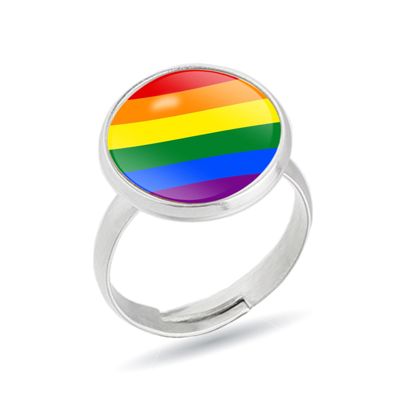 Stainless Steel <font><b>Rings</b></font> Lesbian <font><b>Bisexual</b></font> Lgbt Gay Pride Homosexual Same Sex Rainbow <font><b>Ring</b></font> Jewelry for Men & Women image