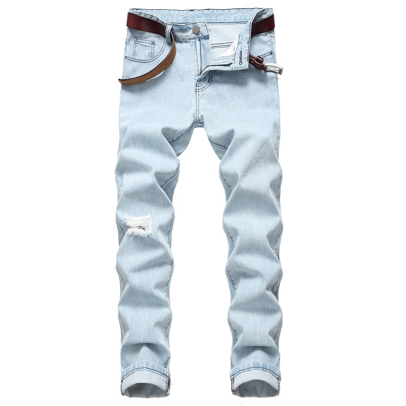 2020 Spring New Light Blue Jeans Fashion Stretch Regular Fit Denim Trousers Male Brand Pants