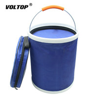 13L Thickened Folding Canvas Bucket Sponges Cloths Brushes Fishing Cleaning Tool Car Washing Bucket with Zipper Bag