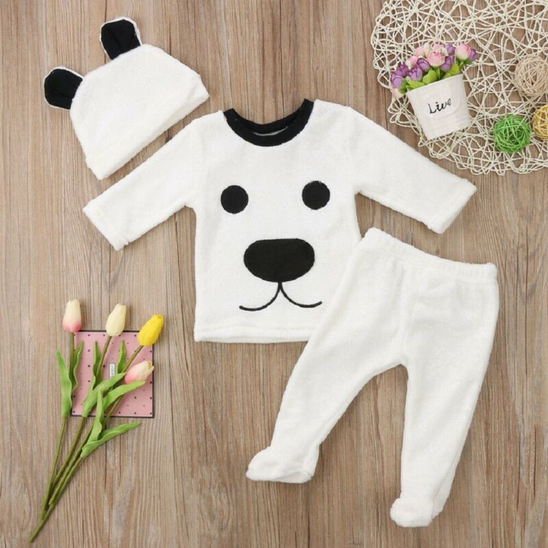 Newborn Infant Baby Boys Girls Fluffy Winter Top Coat Long Pants Cap Outfits Clothes