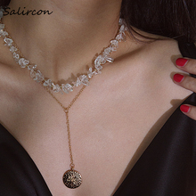 Salircon Temperament Alloy Conch Multilayer Pendant Chain Necklace Exquisite Sweet Transparent  Natural Stone Women Gift Jewelry цена