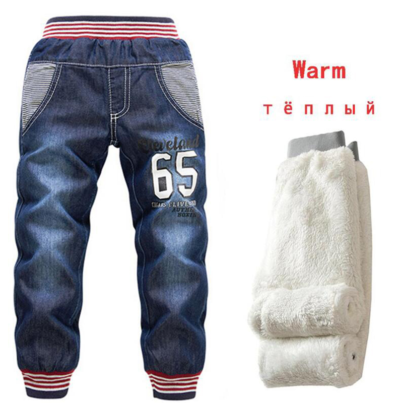 2-7Yrs Kids Thicken Denim Pants New 2019 Baby Boys Jeans Add Wool Winter Children Little Feet Warm Thermal Cotton Trousers