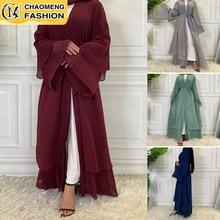 Abaya – Cardigan en mousseline de soie pour femmes musulmanes, Robe modeste, turquie, Kaftan, Ramadan, vêtements islamiques arabes, offre spéciale