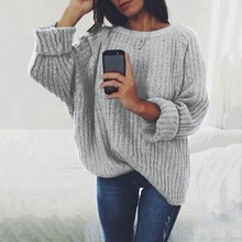 Oeak  Women's autumn and winter sweater round neck knit sweater fashion women's sweater women's loose knit sweater 2019 fashion original xiaomi mijia 90 points double knit sports hooded sweater men s autumn and winter sweater