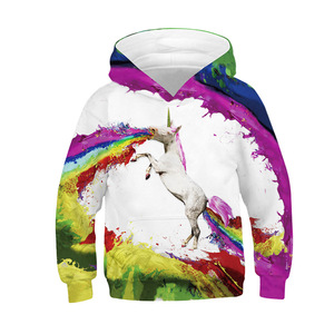Image 5 - Модные толстовки с объемным единорогом; Толстовка для девочек и мальчиков с принтом радуги, лошади, животных; Детская толстовка с длинными рукавами; Осенняя детская одежда