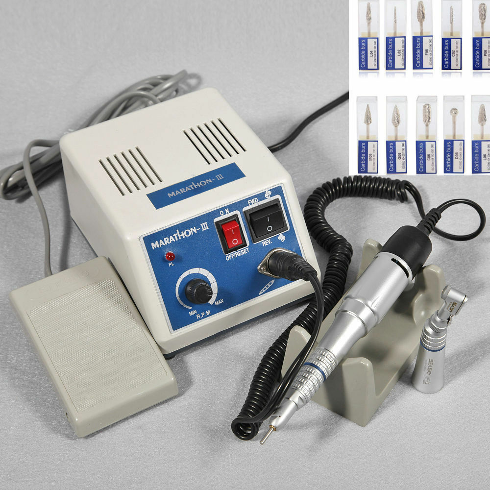 Dental Lab MARATHON Handpiece 35K Rpm Electric Micromotor Polishing + Drills*10