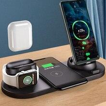 6 em 1 estação de carregador sem fio para iphone 12 pro max 11 xs 10w almofada carregamento rápido para apple relógio airpods estação doca carregamento