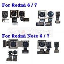 Pequena parte dianteira & principal grande traseira câmera cabo flexível para xiaomi redmi nota 6 6a 7 7a pro mais câmera flex
