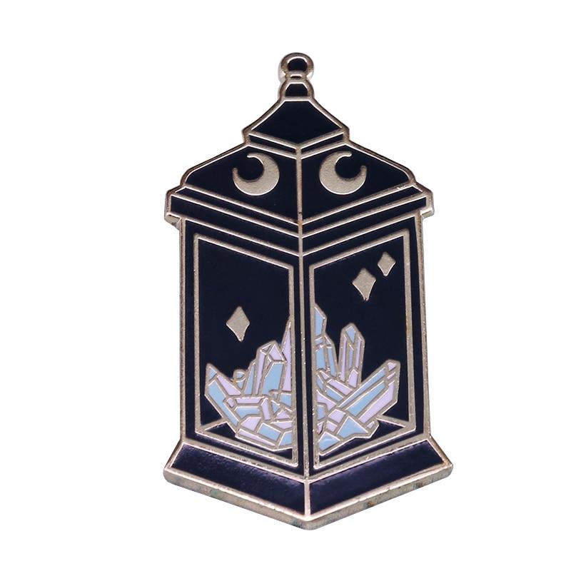 Crystal lantern eclipse hard enamel pin magical Goth witchy lapel jackets decor(China)