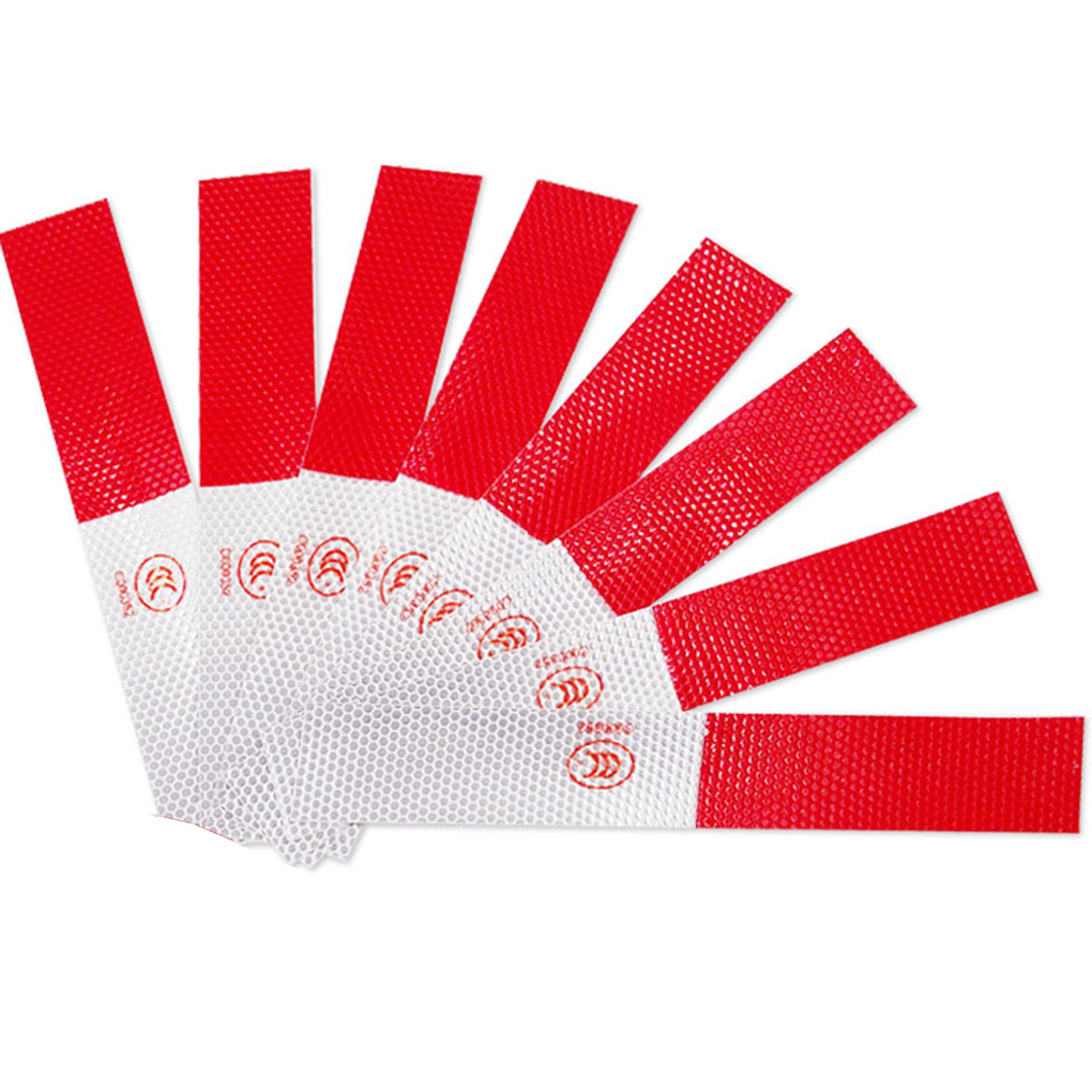 10pcs Auto Night Self-adhesive Reflective Strip Red-White Car Truck Trailer Safety Warning Tape Stickers