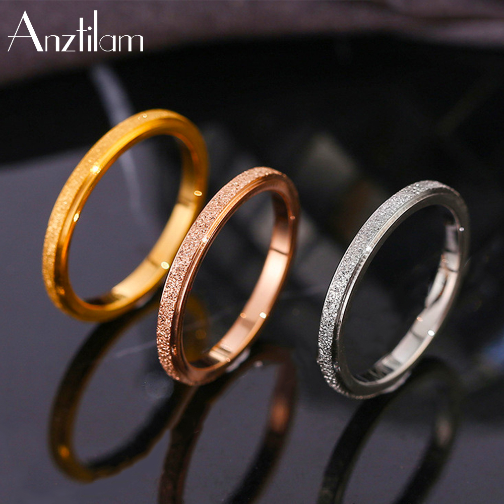 Ins High-Quality Scrub Stainless Steel Rings For Women 2 MM Width Finger Rings Gift Girl Fashion Jewelry Goth Free Shipping