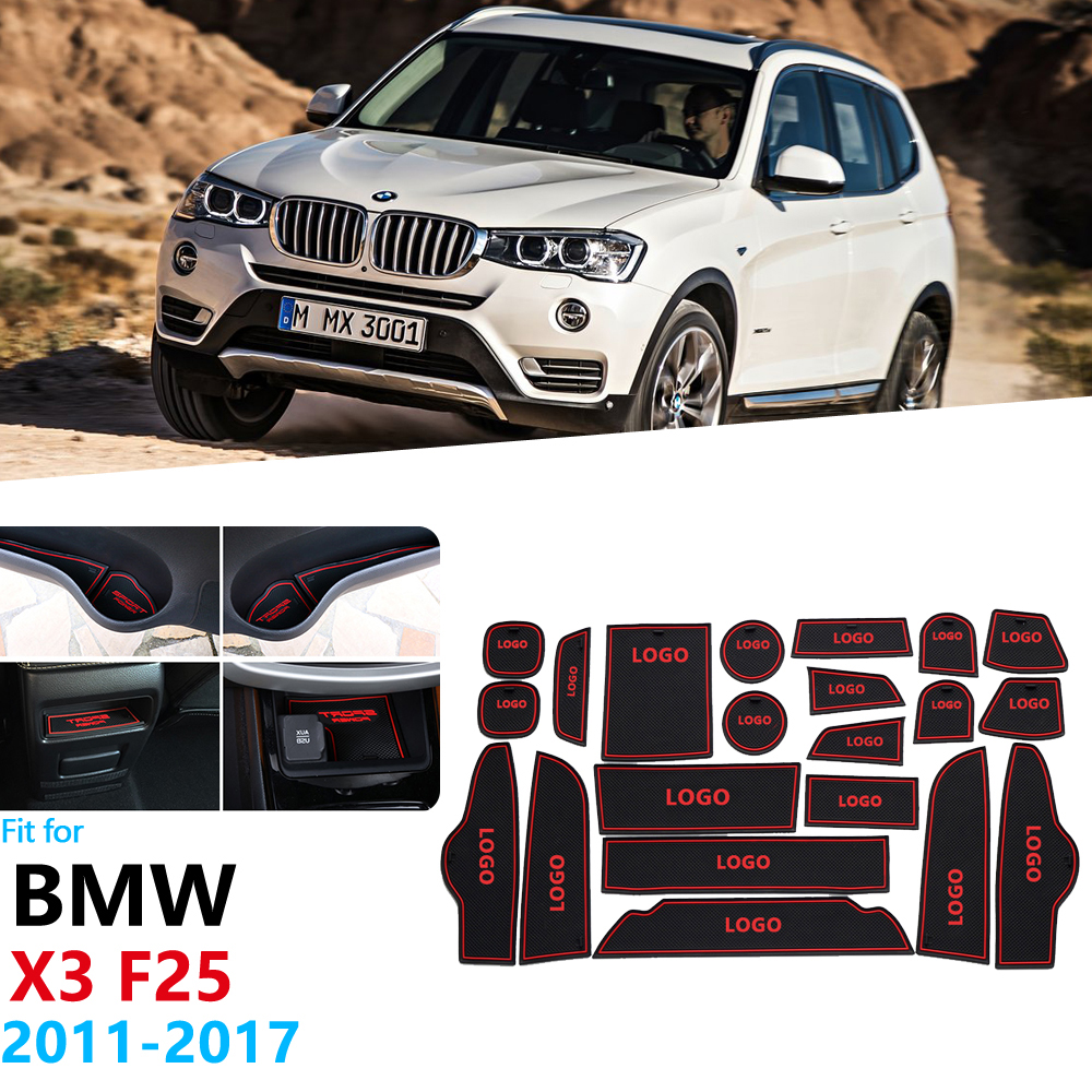 Anti-Slip Rubber Gate Slot Cup Mat For <font><b>BMW</b></font> <font><b>X3</b></font> F25 2011 2012 2013 2014 2015 2016 <font><b>2017</b></font> Door Groove Mat <font><b>Accessories</b></font> Car Stickers image