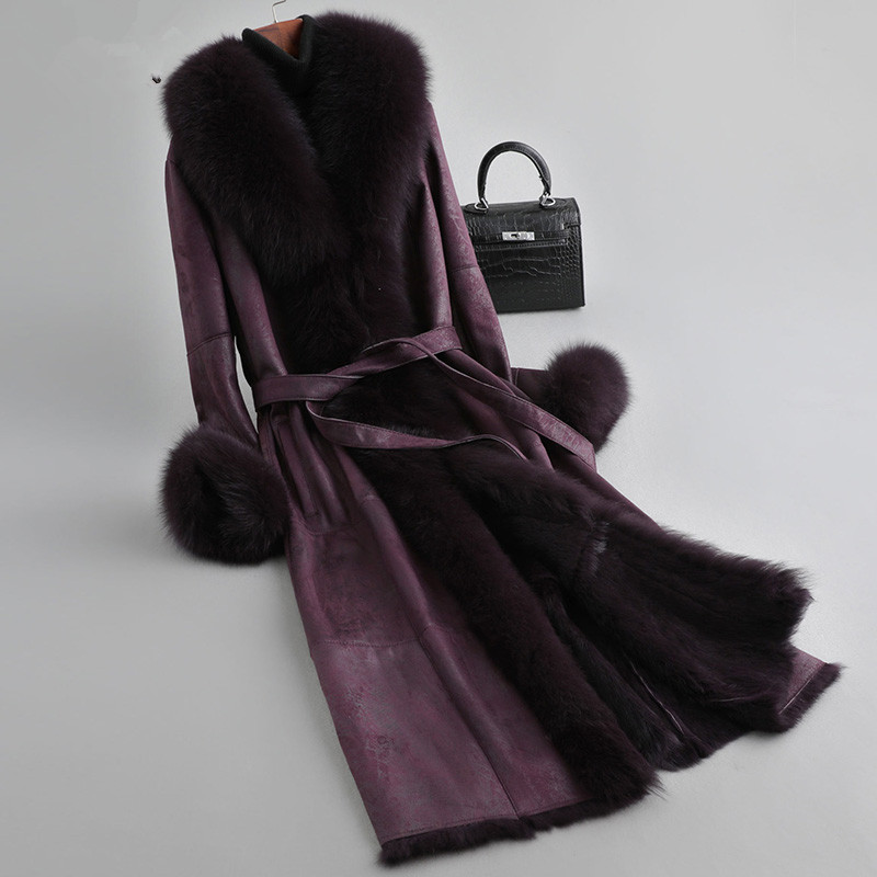 Women Jacket Winter Double Faced Real Fur Coat Female Luxury Rabbit Fur Jackets Fox Fur Collar Real Leather Jacket MY S