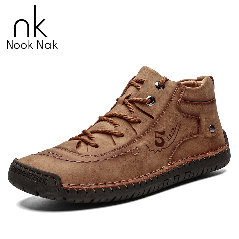 Men Genuine Leathe Casual Shoes Winter Warm Western Boots Outdoor Snow Boots Handmade England Retro Shoes For Men Sneaker