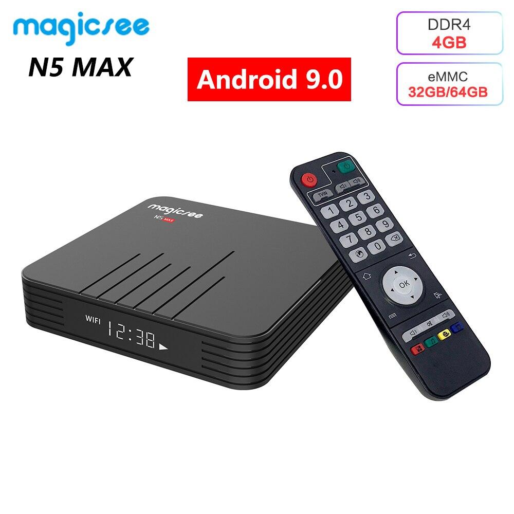 N5 MAX Android 9.0 TV Box DDR4 4GB RAM 64GB ROM Amlogic S905X3 Media Player 1000M LAN 2.4G 5G WiFi Bluetooth 4.1 4K HD Smart Box