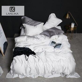 Lanlika de lujo de las mujeres blanco 100% juego de ropa de cama de seda doble reina rey funda nórdica equipado hoja de cama de lino funda de almohada envío gratis