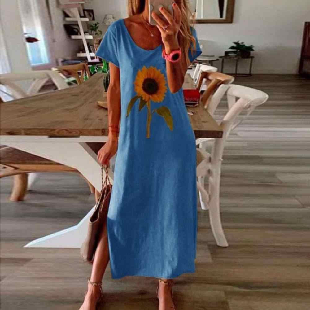 Fashion Frauen Sunflower Floral Print Rundhals Kurzarm Seite Split Lose Lange Kleid
