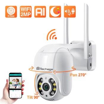 Techage 1080P MINI PTZ Wireless IP Camera Speed Dome 2MP WIFI CCTV Security Camera Outdoor P2P Audio Smart AI Human Detect