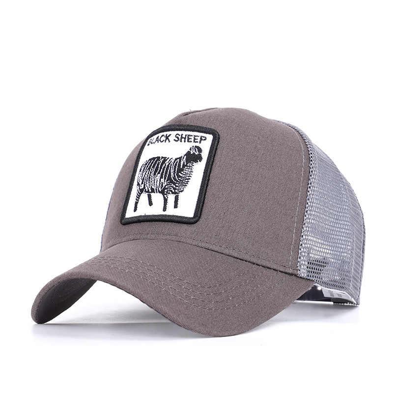 Moda hayvanlar nakış beyzbol kapaklar erkek kadın Snapback Hip Hop şapka yaz nefes örgü güneş Gorras Unisex Streetwear kemik