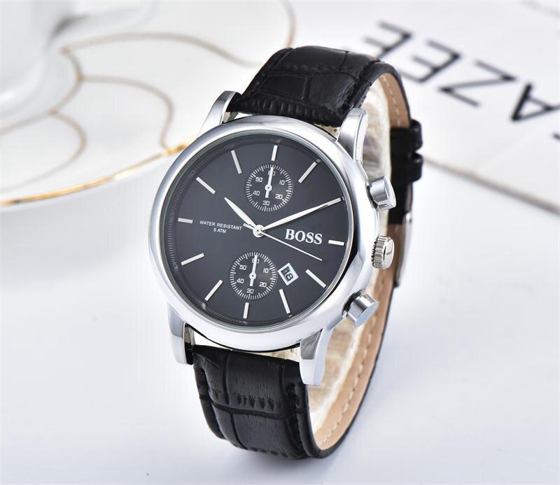 2019 Quality Men BOSS Wristwatch 43mm Steel Mesh Watches Men's Quartz Waterproof Watch Mens Designer Watches Luxury Mens Watches