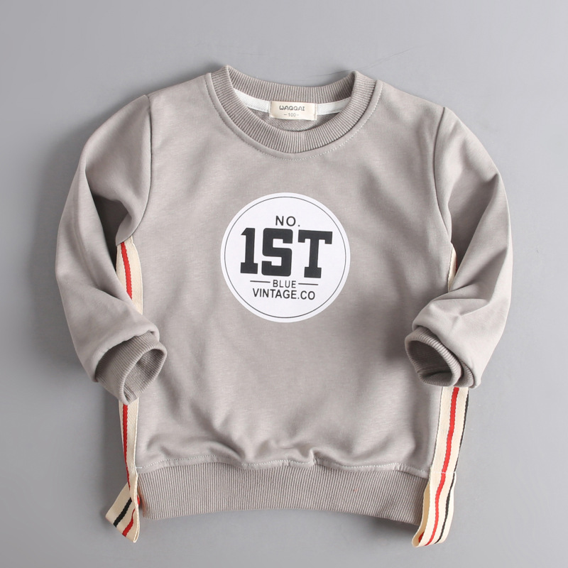 Kids Sweaters T-Shirt Babies Boys Children New Cotton Letter Tops Long-Sleeves Sports
