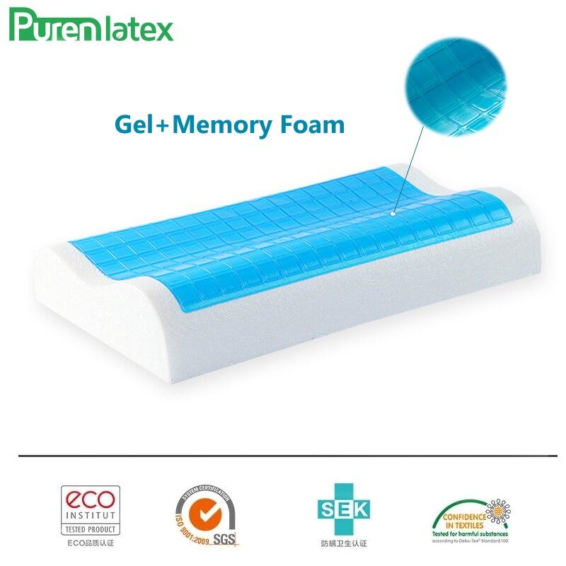 PurenLatex 50*30/60*40 Silicone Gel Memory Foam Summer Cool Neck Pillow Spondylosis Prevented Cervical Vertebra Orthopedic Pad