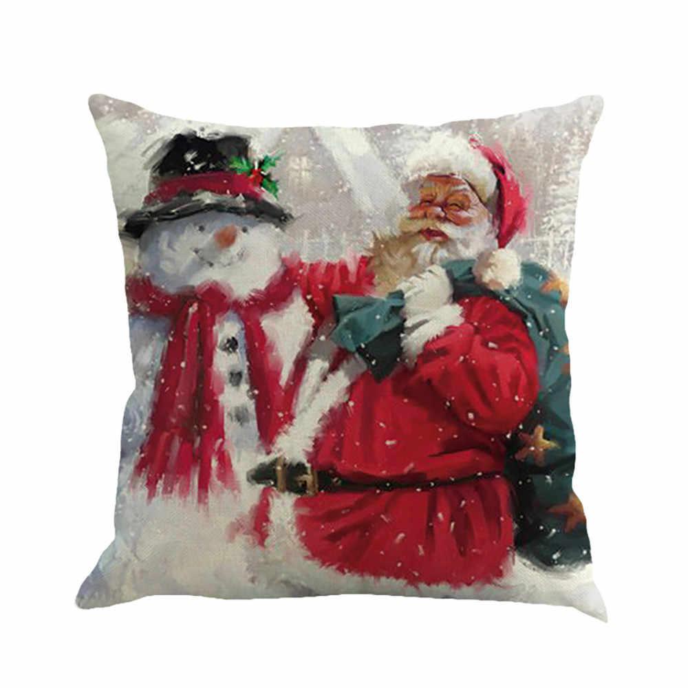 Christmas Pillow Santa Snowman Reindeer Sofa Bed Waist Throw Cushion Home Decor