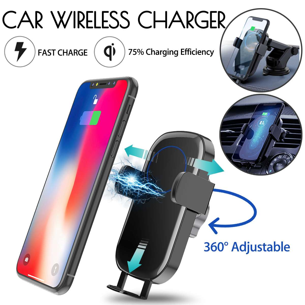 Qi Wireless Charger Infrared Induction Dashboard Air Vent Car Phone Mount Holder For 4.0-6.5 Inch for iPhone XR for Samsung S10E image