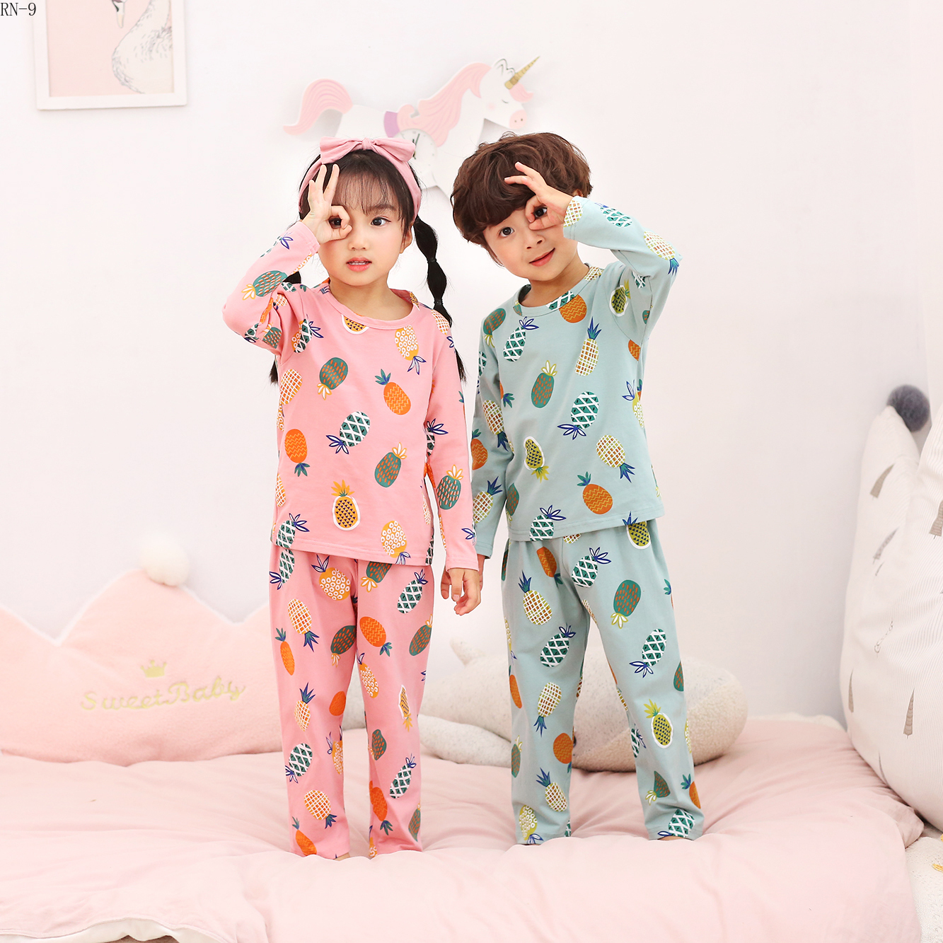 New 2019 Autumn Children Cotton Long Sleeve   Pajamas   Boy Warm Sleepwear Baby Nightwear Kids Lovely Underwear Girls Pyjamas   Set