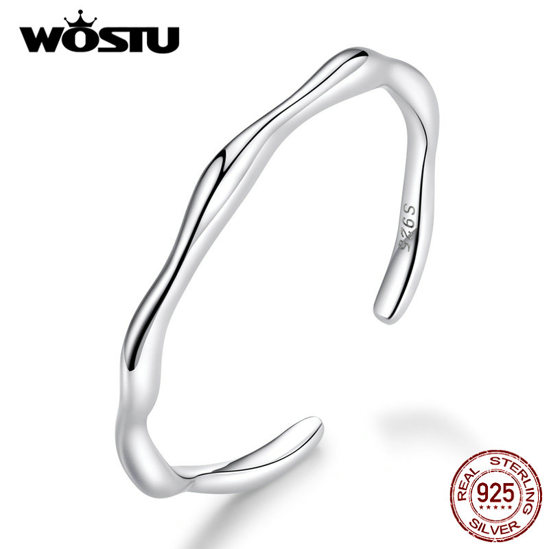 WOSTU Hot Fashion 925 Sterling Silver Geometric Opening Rings For Women Adjustable Ring Wedding Minimalist Fine Jewelry CQR593