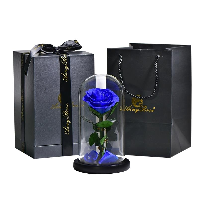 6 стилей,, свежие цветы красавицы и чудовища, красные вечные розы в стеклянном куполе, Рождественский подарок на день Святого Валентина, Прямая поставка - Цвет: dark blue with box