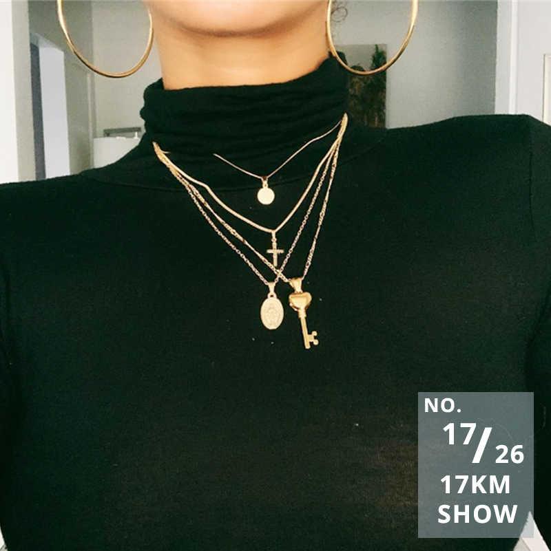 17KM Vintage złote naszyjniki wisiorki dla kobiet kołnierz blokady księżyc perła gwiazda naszyjnik 2019 kobiet wielowarstwowe moda boho biżuteria