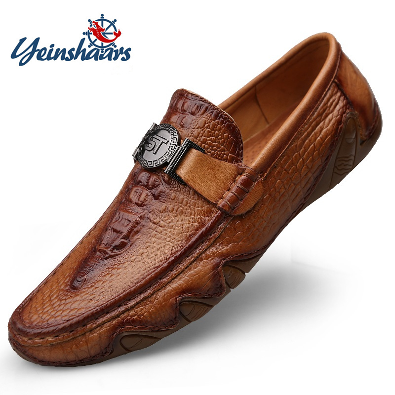 YEINSHAARS Crocodile Skin Loafer Shoes Men Genuine Leather Slip-on Moccasins Handmade Man Casual Shoes Drive Walk Luxury Leisure