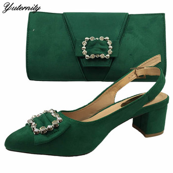 Green Color New Arrival Fashion Shoes With Purse Set Autumn African Style High Heels 6.5CM Shoes And Bag Set For Woman Dress