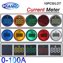 10pcs Small mini Ampermeter 22mm LED Digital Display power signal light AC 60-500V 0-100A Ammeter Current Meter Gauge Indicator