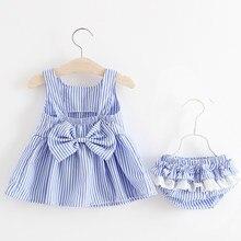 Conjuntos de roupas do bebê 2020 meninas bonito verão sem mangas vestido menina 2 peças define calças curtas + vestido conjunto listra patten para o bebê 6-24m