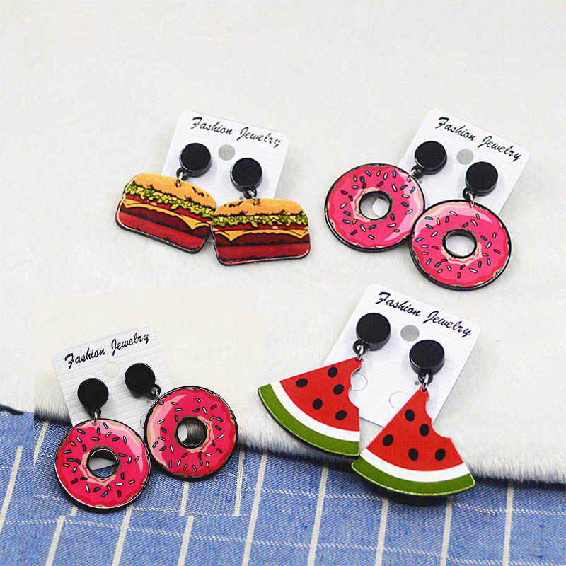 Sale Acrylic Watermelon Ice Cream Ear Stud Big Earrings For Women Chic Fruit Fashion Girls Earings