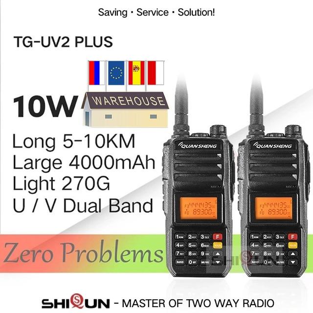 Super 2 pièces QuanSheng TG UV2 Plus 10W longue portée talkie walkie 10 KM 4000mah jambon Radio 10 KM vhf uhf double bande jambon Radio 10watts