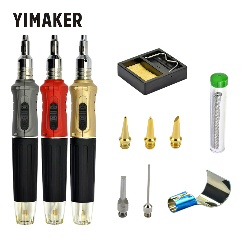YIMAKER 10 in 1 Butane Gas Soldering Cordless Welding Torch Kit Tool Kit Portable Pen-Shaped Gas Soldering Iron Tool Set image