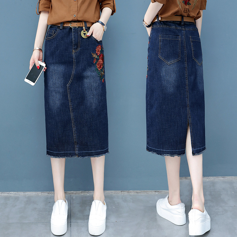 Denim Skirt Women's 2019 Spring And Autumn New Style Korean-style High-waisted Versatile Fashion Embroidered Mid-length Slim Fit thumbnail