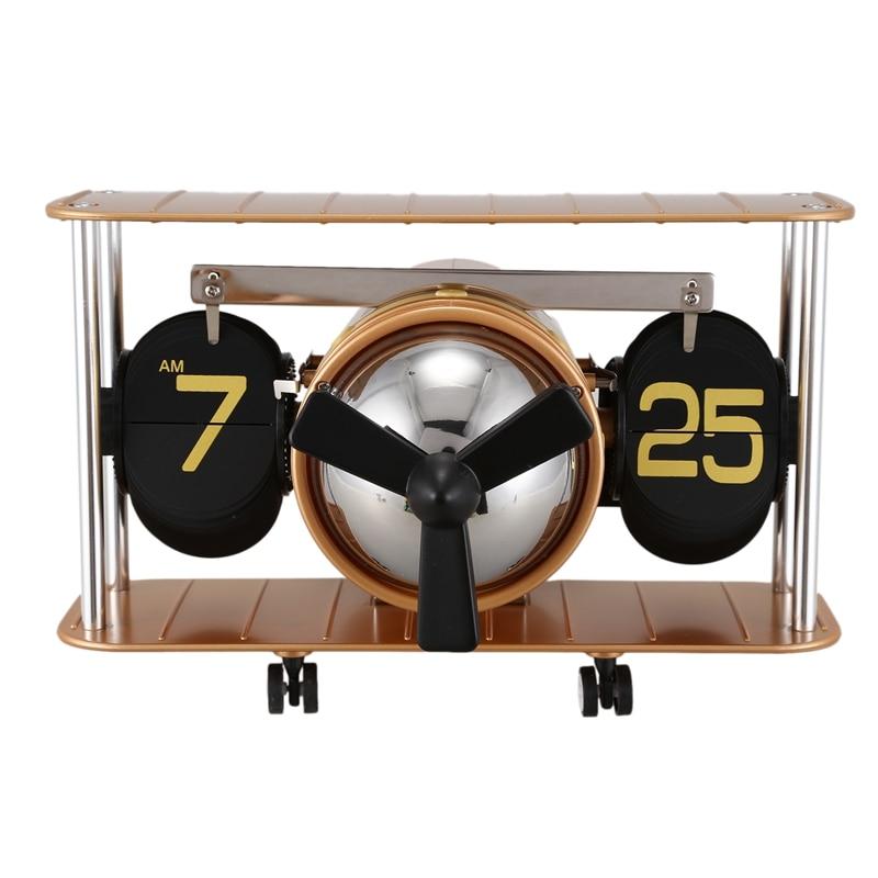 Bureau Table vers le bas Page horloge à engrenages interne nouveau rétro avion propulseur airvis rétro Auto Balance horloge à bascule
