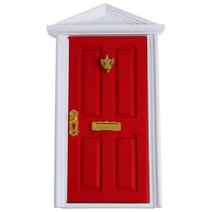 New 1/12 Dollhouse Miniature 4 Panel Exterior Wooden Door Steepletop with Hardware Knockplate Letter Slot Outward Open   Red|Nail Guns| |  -