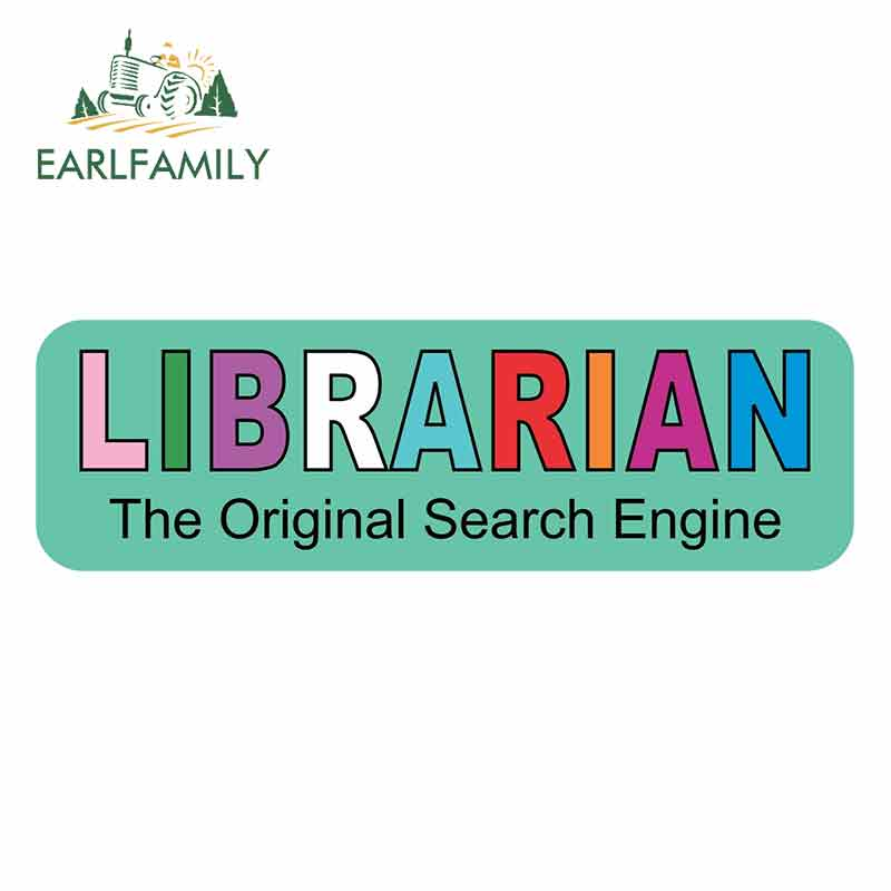 EARLFAMILY 13cm x 4cm For Librarian Search Engine Graffiti Sticker Personality Creative Decals Pull Flower Scratch-Proof Sticker image