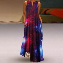 3D estrellado estampado de cielo largo Maxi Vestido de verano de 2020 las nuevas mujeres traje sin mangas flojo informal mujer vestidos Vestido largo mujer