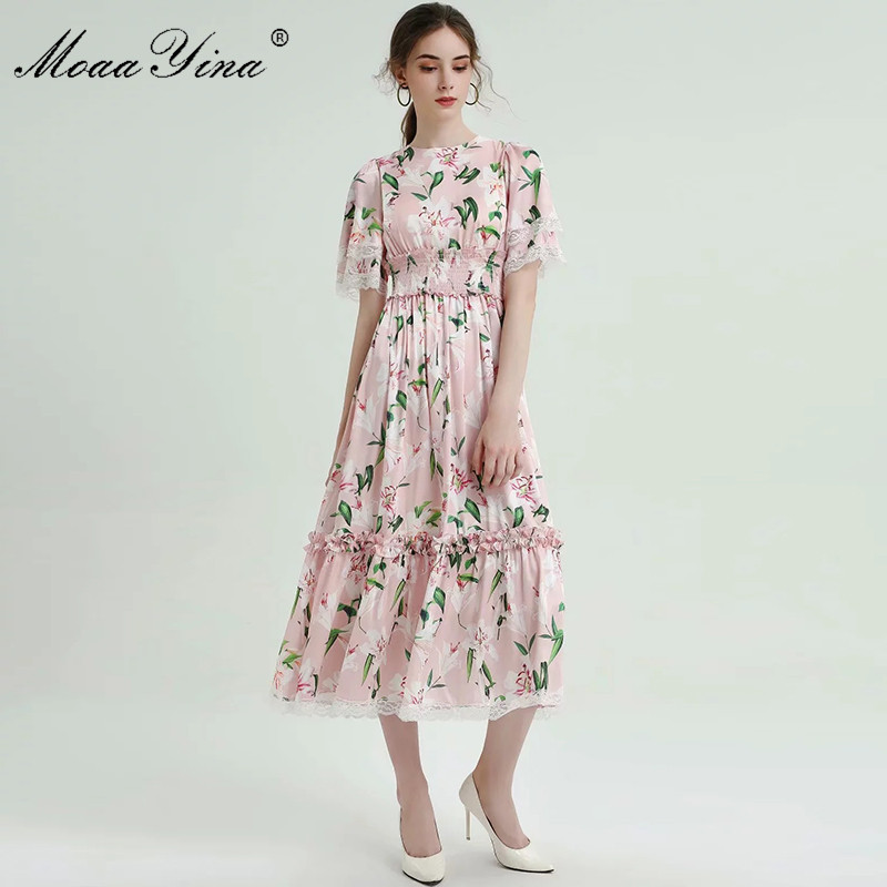 MoaaYina Fashion Designer Runway dress Spring Summer Women Pink Dress Lace lily Floral-Print Elastic waist Dresses