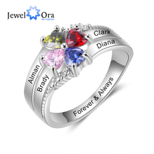 JewelOra Customized Family Name Mothers Ring with 4 Heart Birthstones Silver Color Personalized Engraved Rings for Women Gifts