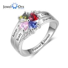 JewelOra Angepasst Familie Name Mütter Ring mit 4 Herz Birth Silber Farbe Gravur Ringe für Frauen Geschenke