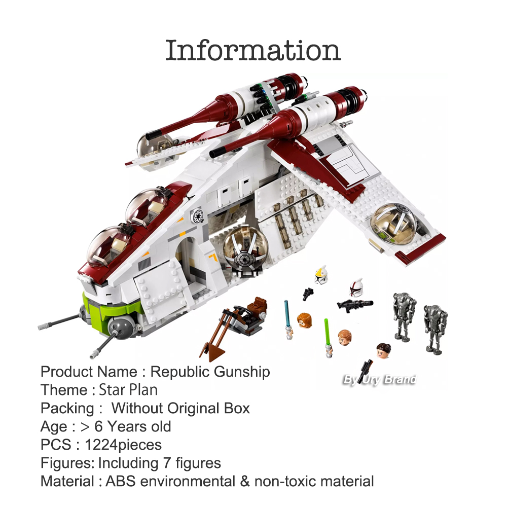 Fit <font><b>Star</b></font> 75021 <font><b>Wars</b></font> Republic Gunship Set Movies with Figures Educational Model Building Blocks DIY Toys for Children Gifts image