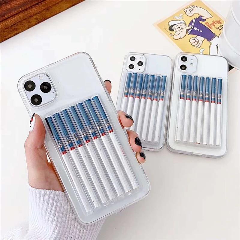 3D cute Cigarette Phone Case for iphone 11 pro X XS MAX XR transparent Soft TPU back cover for iphone 6 6s 7 8 plus funda coque